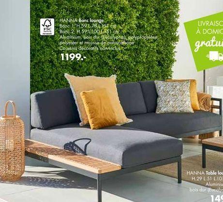 HANNA Banc lounge offre à 1199€