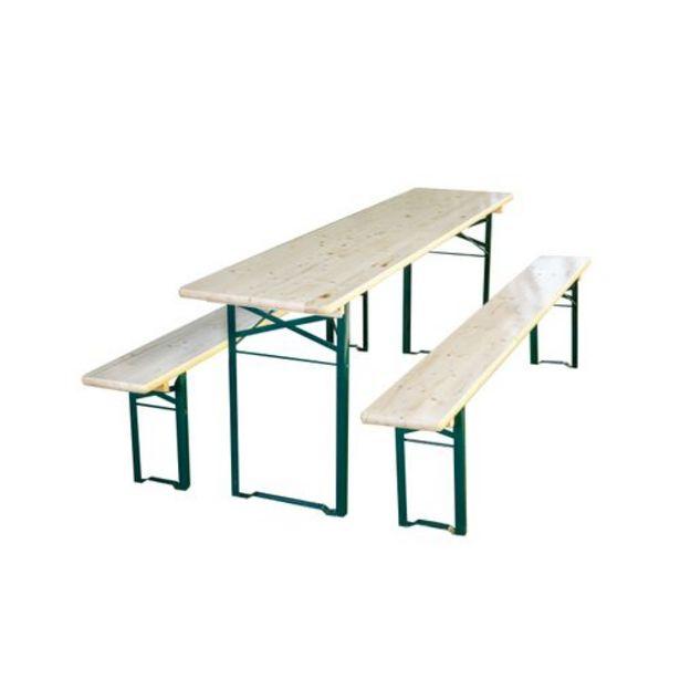 Table de jardin + bancs en bois 180x50cm offre à 78€