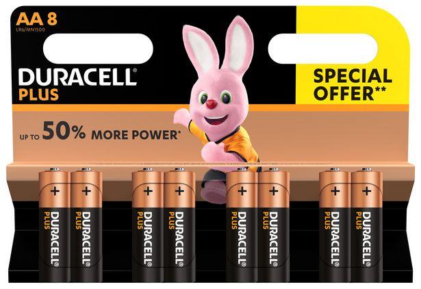 Plus Power Piles Alcalines type AA, Lot de 8 piles offre à 12,95€