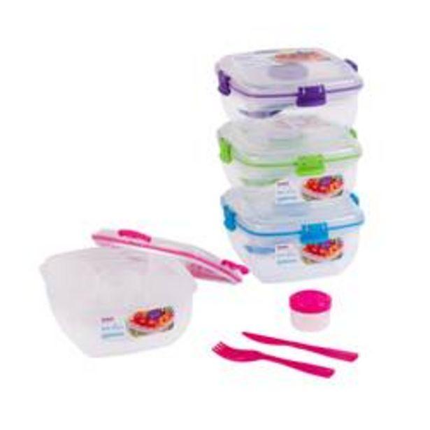 TO GO Lunchbox voor salades 4 kleuren groen, blauw, paars, roze H 8,5 x B 16 x D 16 cm offre à 5,59€