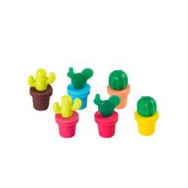 CACTUS Glasmarkers set van 6 mix van 3 vormen diverse kleuren H 3 cm offre à 1,06€