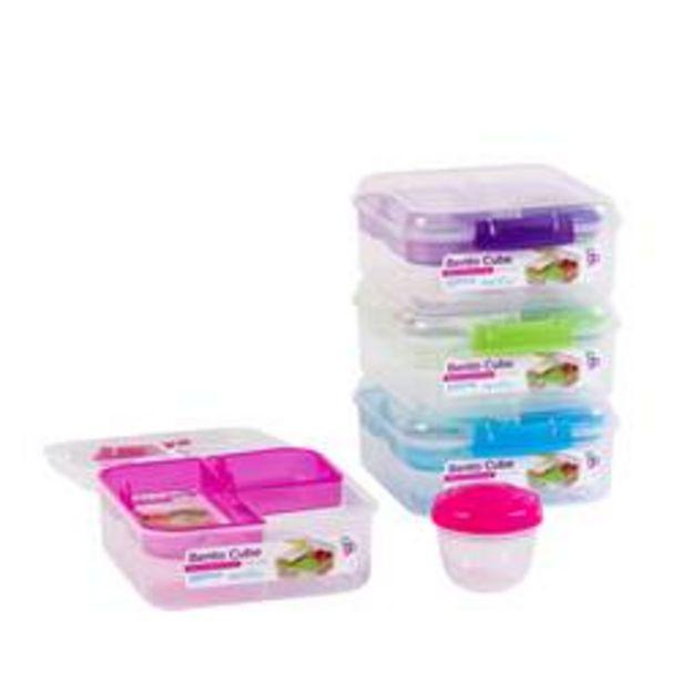 TO GO Lunchdoos met verdeling 4 kleuren groen, blauw, paars, roze H 7,5 x B 16,5 x D 17,5 cm offre à 6,99€