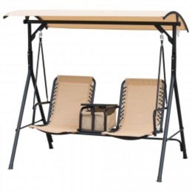 Balancelle de jardin 2 places table d'appoint pivotante + rangement intégré inclinaison toit réglable acier noir polyester beige  offre à 149,9€