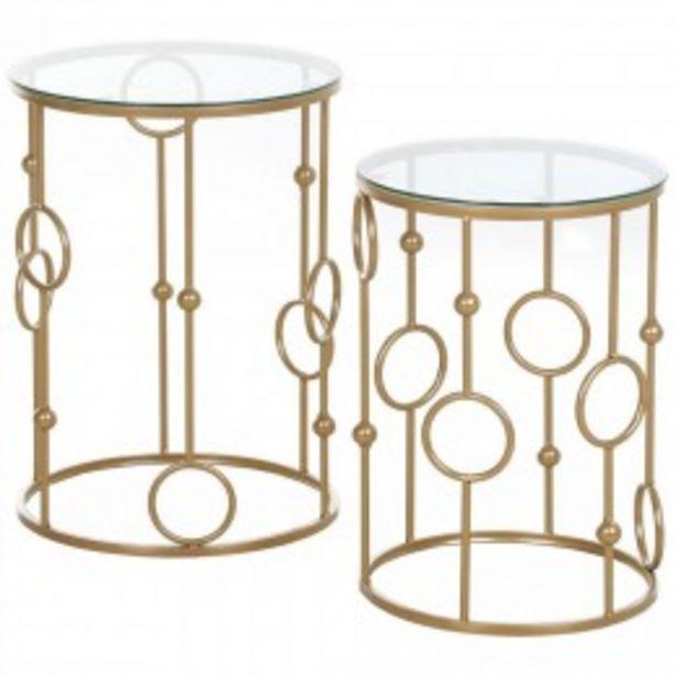 Tables gigognes lot de 2 tables basses rondes design style art déco Ø 41 et Ø 36 cm métal doré verre trempé 5 mm  offre à 110,9€