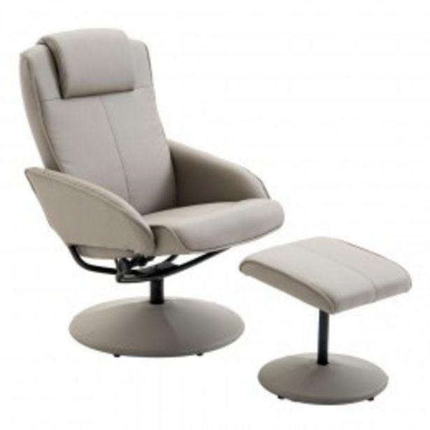 Fauteuil relax inclinable style contemporain avec repose-pieds simili cuir acier gris  offre à 145,9€