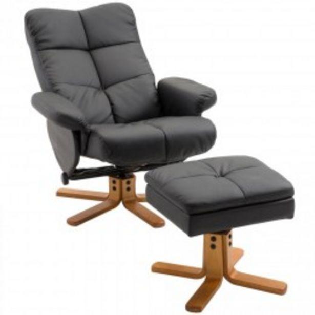 Fauteuil relax inclinable style contemporain repose-pieds coffre rangement simili cuir acier bois noir  offre à 199,9€
