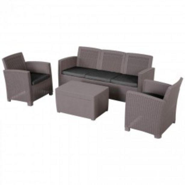 Ensemble salon de jardin 5 places grand confort table basse rangement intégré plastique PP imitation rotin noir coussins gris  offre à 533,9€