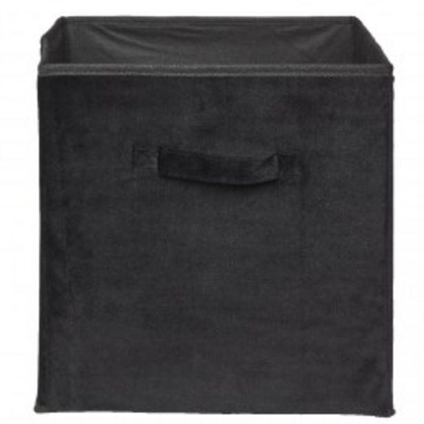 Panière cube de rangement effet velours noir  offre à 4,99€