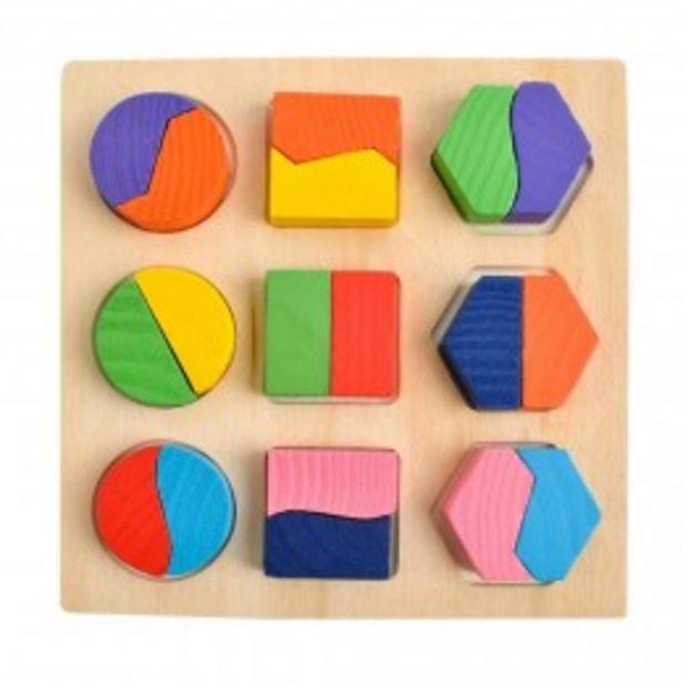 Puzzle 3D montessori en bois, formes géométriques colorées  offre à 3,9€