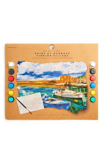 Peinture par numéros thème village de pêcheurs offre à 2,5€